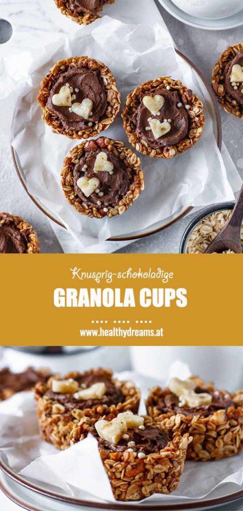 Pinteresttemplate für das schokoladige Frühstücks Granola Cup Rezept, Vicky's Healthy Dreams