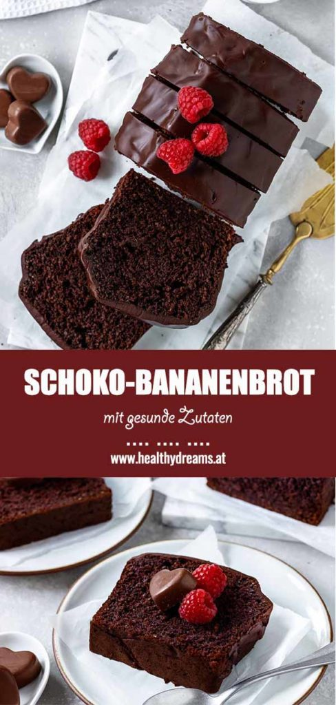 Pinteresttemplate für das gesunde Schoko-Bananenbrot, Vicky's Healthy Dreams