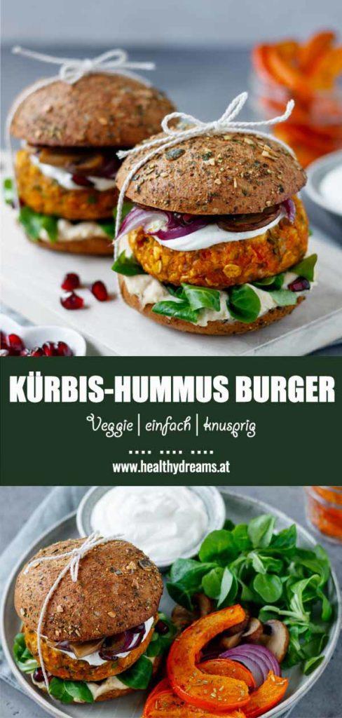 Pinteresttemplate für das Kürbis-Hummus-Burger Rezept, Vicky's Healthy Dreams