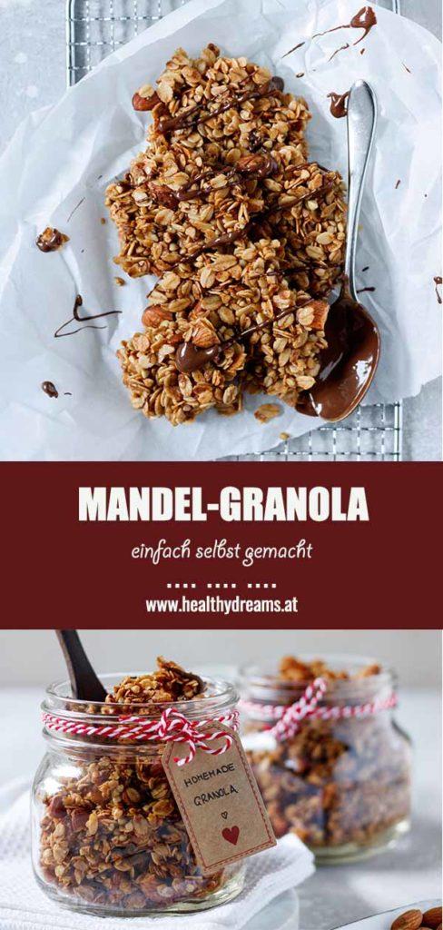 Pinteresttemplate für das einfache Mandelgranola, Vicky's Healthy Dreams
