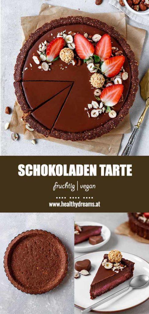 Pinteresttemplate für das fruchtige Schokoladen Tarte Rezept, Vicky's Healthy Dreams