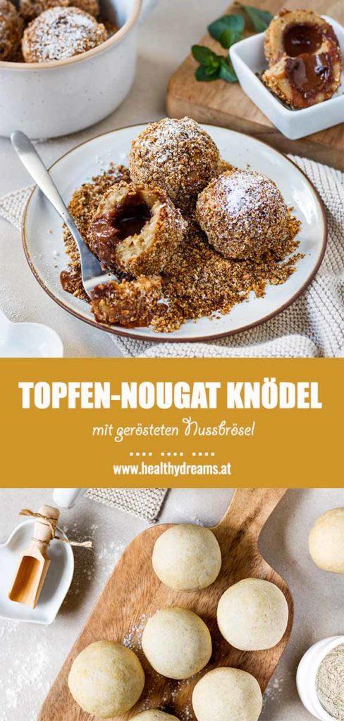 Pinteresttemplate für das fluffige Topfen-Nougat Knödel Rezept, Vickys Healthy Dreams