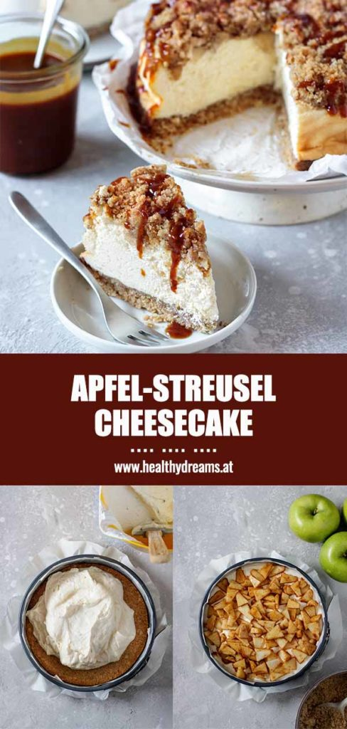 Pinteresttemplate für das Rezept Apfel-Streusel Cheesecake, Step-by-Step Anleitung, Vicky's Healthy Dreams