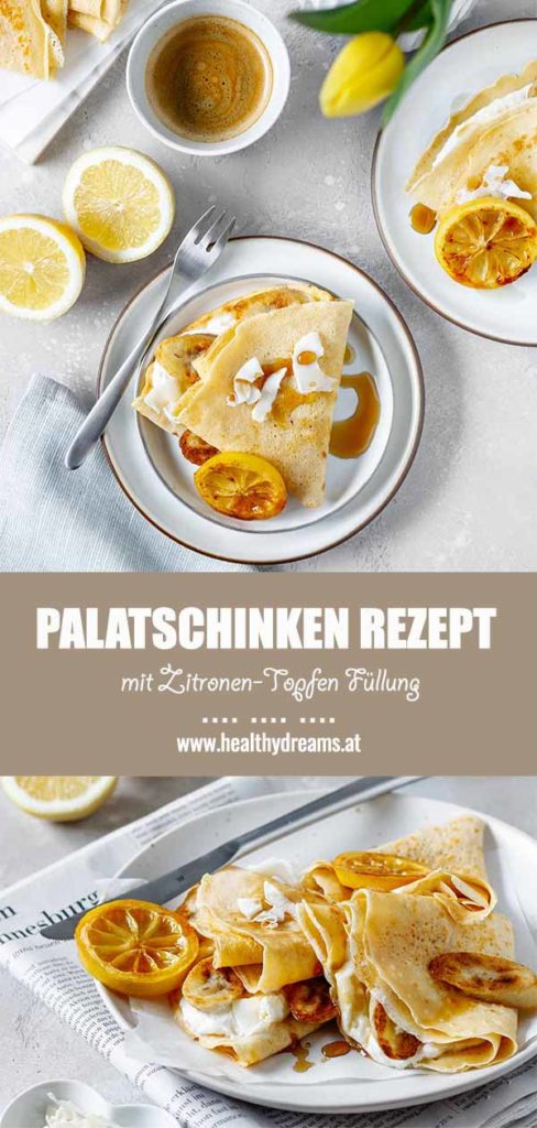 Pinteresttemplate für das luftig-lockere Palatschinken Rezept mit Zitronen-Topfen Füllung, Vickys Healthy Dreams