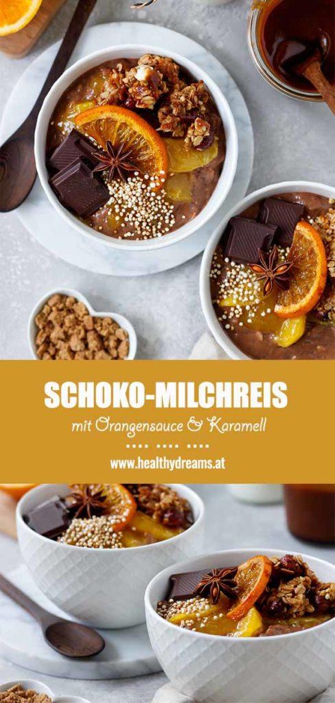 Pinteresttemplate für das cremige Schoko-Milchreis Rezept mit Orangensauce und Karamell, Vickys Healthy Dreams