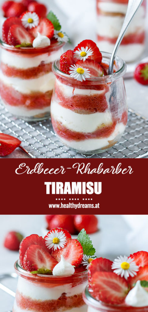 Pinteresttemplate, Erdbeer-Rhabarber Tiramisu Reezept im Glas, Vickys Healthy Dreams