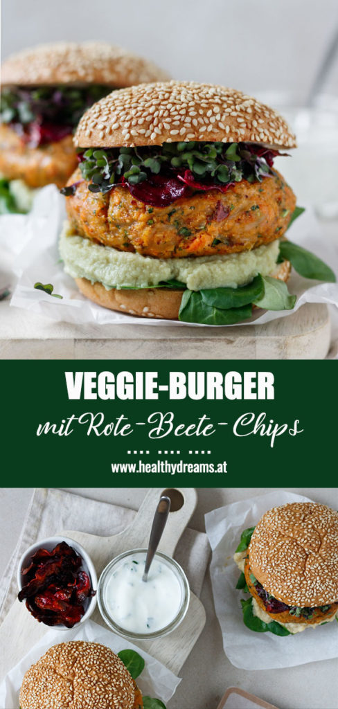 Pinteresttemplate, Gesundes Veggie-Burger Rezept mit Rote Beete-Chips und Dip, Vickys Healthy Dreams
