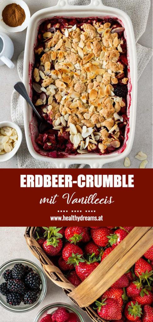 Pinteresttemplate, Erdbeer-Crumble mit Vanilleeis, Vickys Healthy Dreams