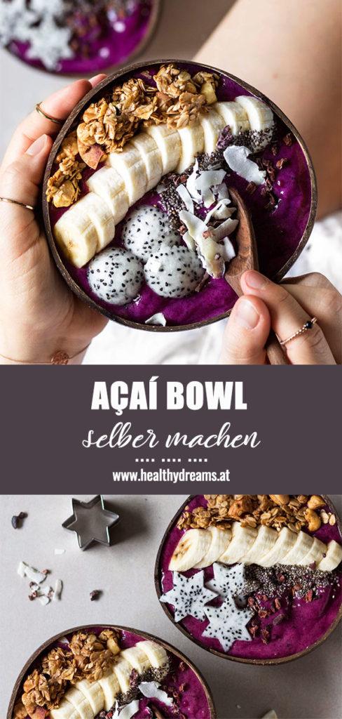 Pinterest, Bali inspirierte Smoothiebowl selber machen, Acai Bowl Rezept, vegane Frühstücksbowl, gesundes Rezept, Vickys Healthy Dreams