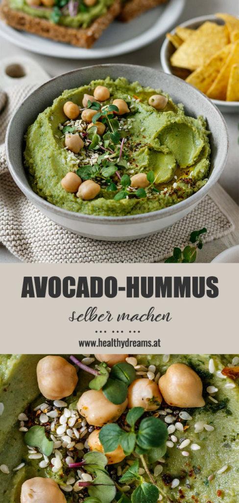 Pinteresttemplate zum Pinnen für das köstliche Avocado Hummus Rezept, Vickys Healthy Dreams