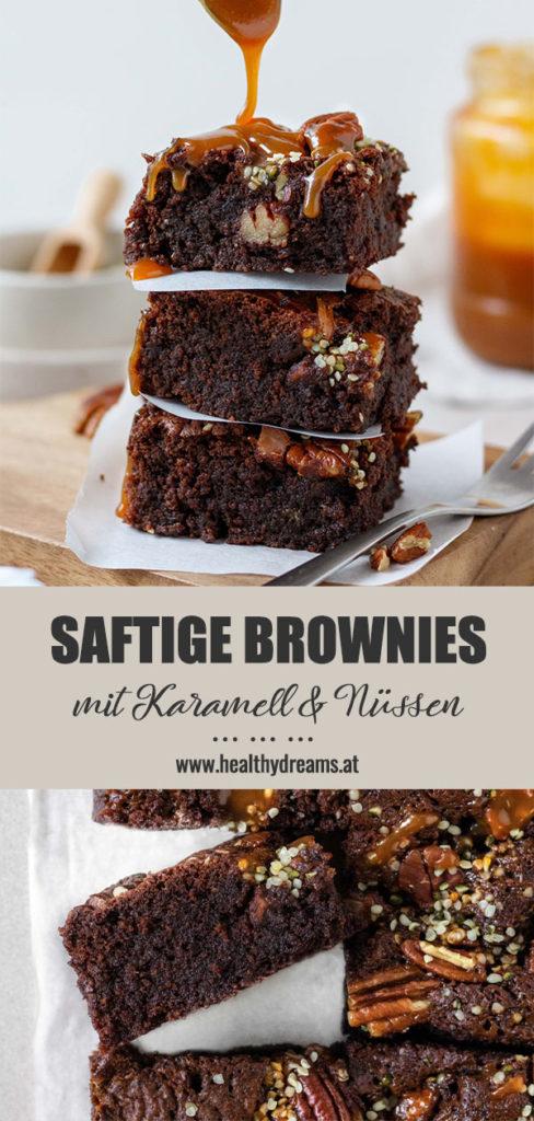 Pinteresttemplate für die saftigen Brownies mit gesalzenem Karamell und Nüssen, Vickys Healthy Dreams