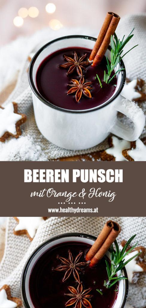 Pinterest Pin für das Orangen Beeren Punsch Rezept, Vickys Healthy Dreams